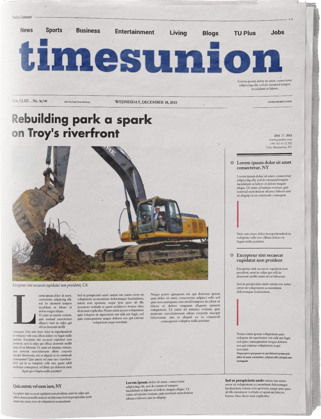 "Crowe, Kenneth C II. ""Rebuilding Park a Spark on Troy's Riverfront"" Times Union, Dec 27, 2011."
