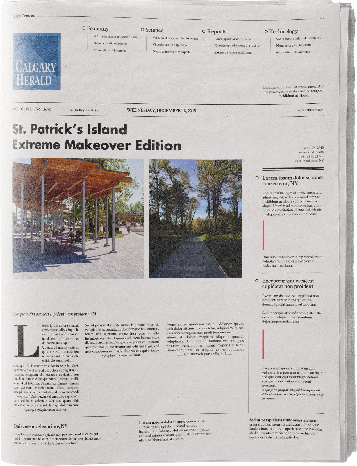 "Mcmurray, Jenna. ""St. Patrick's Island Extreme Makeover Edition"" Calgary Herald, 3, April 26, 2012."